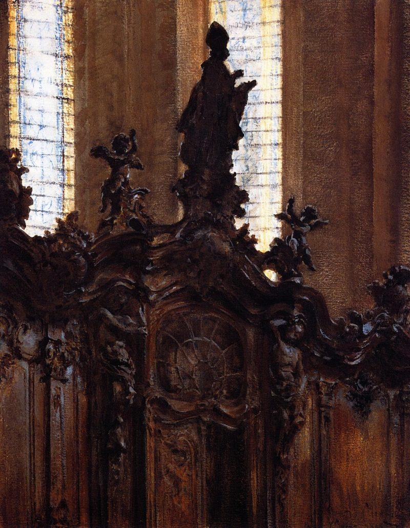 Choirstalls in Mainz Cathedral   Adolph von Menzel   oil painting