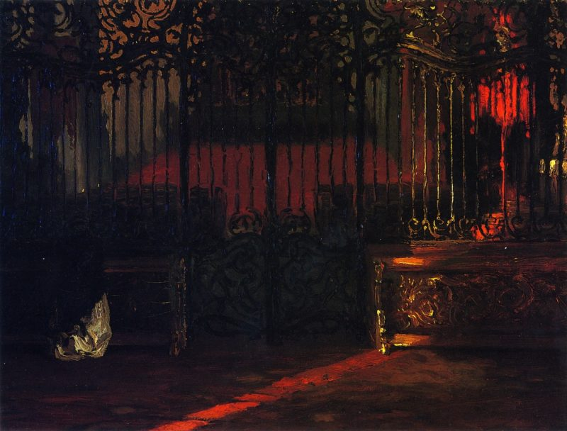 Church Interior with Woman at Prayer before a Rococo Iron Grille | Adolph von Menzel | oil painting