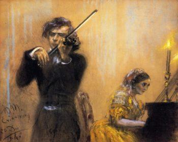 Clara Schumann and Josep Joachim in Concert | Adolph von Menzel | oil painting