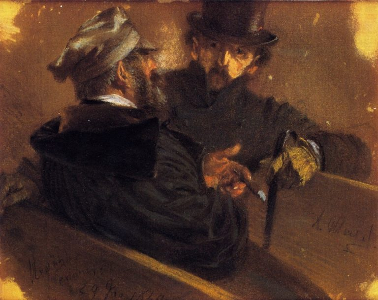 Conversation between Two Voters | Adolph von Menzel | oil painting