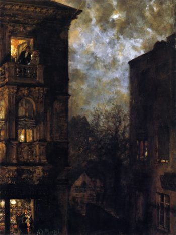 Corner of a House in the Moonlight | Adolph von Menzel | oil painting