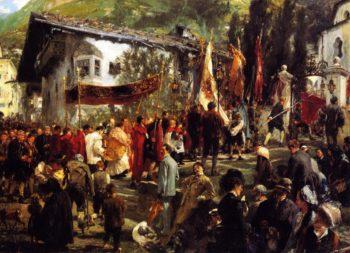 Corpus Christi Procession at Hofgastein | Adolph von Menzel | oil painting