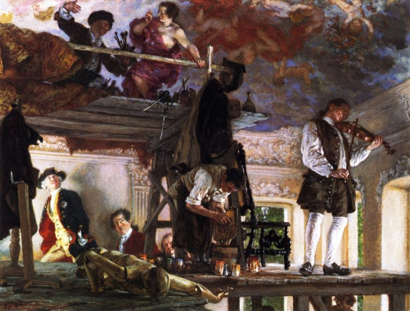 Crown Prince Frederick Pays a Visit to the Painter Pesne on his Scaffold at Rheinsberg | Adolph von Menzel | oil painting