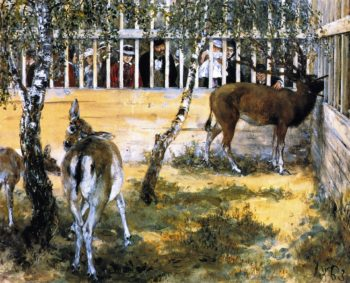 Deer at the Zoo | Adolph von Menzel | oil painting