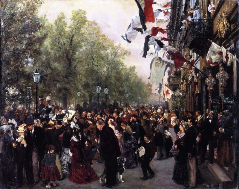 Departure of King William I for the Army 31 July 1870 | Adolph von Menzel | oil painting