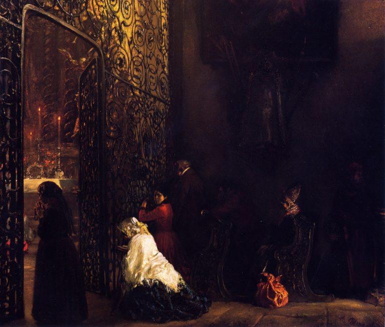 Early Mass in a Salzburg Church   Adolph von Menzel   oil painting
