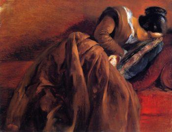 Emilie Menzel Asleep | Adolph von Menzel | oil painting