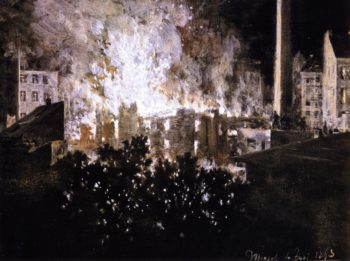 Factory on Fire | Adolph von Menzel | oil painting
