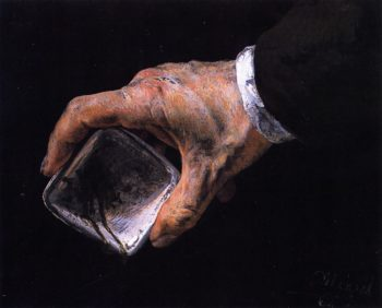 Hand Holding a Paint Dish | Adolph von Menzel | oil painting
