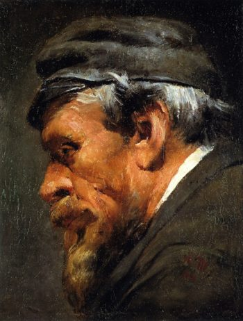 Head of a Worker Wearing a Cap | Adolph von Menzel | oil painting