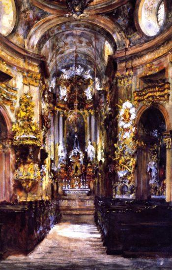 Interior of Saint Peter's Church in Vienna | Adolph von Menzel | oil painting