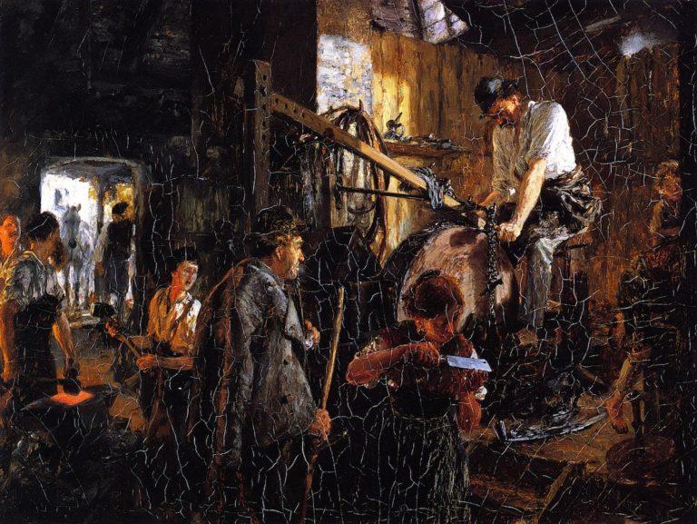 Knife grinder's Workshop in the Hofgastein Smithy | Adolph von Menzel | oil painting