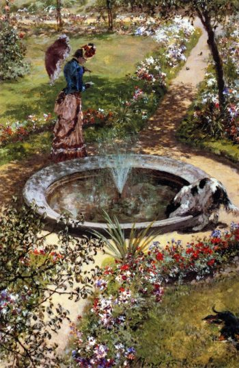 Lady Walking by a Fountain in the Kissingen Spa Garden | Adolph von Menzel | oil painting