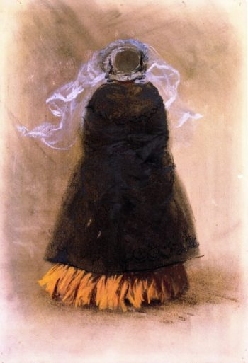 Lady with Hat and Veil Viewed from Behind | Adolph von Menzel | oil painting