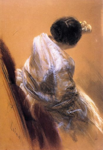 Lady with Opera Glasses | Adolph von Menzel | oil painting