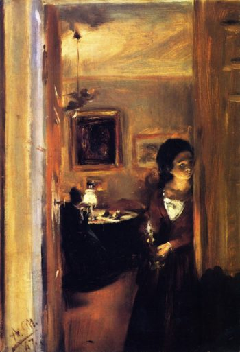 Living Room with the Artist's Sister | Adolph von Menzel | oil painting