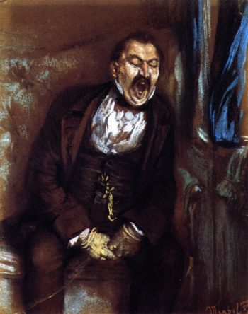 Man Yawning in a Train Compartmentp | Adolph von Menzel | oil painting