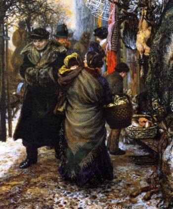 Market in Winter | Adolph von Menzel | oil painting