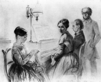 Menzel with His Brother Sister and a Relative next to the Upright Piano | Adolph von Menzel | oil painting