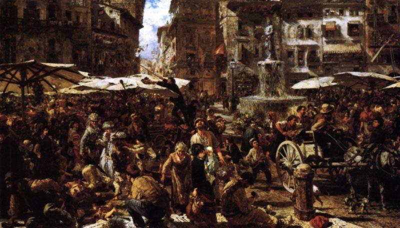 Merketplace in Verona | Adolph von Menzel | oil painting