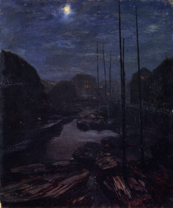 Moonlight on the Friedricsgracht in Old Berlin | Adolph von Menzel | oil painting
