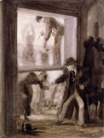 Painters Preparing a Transparent Panel | Adolph von Menzel | oil painting