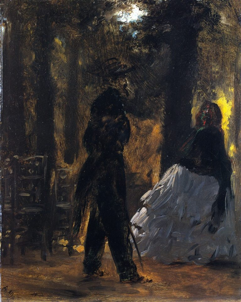 Policeman and Lady in the Tuileries Gardens | Adolph von Menzel | oil painting