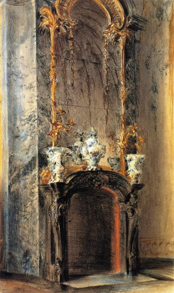 Rococo Fireplace | Adolph von Menzel | oil painting