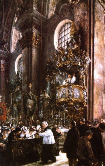 Sermon in the Parish Church in Innsbruck | Adolph von Menzel | oil painting