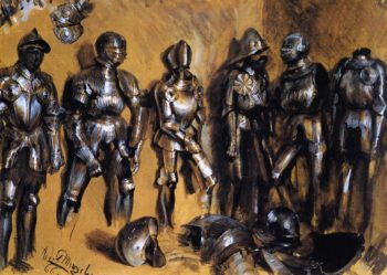 Six Suits of Armor Standing against a Wall | Adolph von Menzel | oil painting