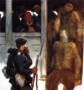 Soldier of the Prussian Landwehr and French Prisoners | Adolph von Menzel | oil painting