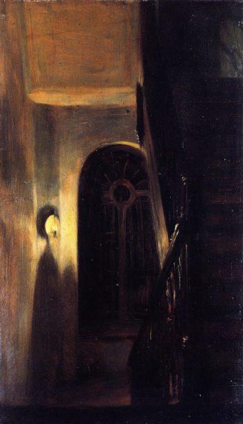 Stairway Landing in Nocturnal Lighting | Adolph von Menzel | oil painting