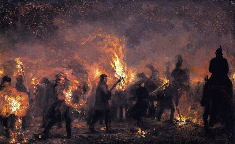 Students' Torchlight Procession | Adolph von Menzel | oil painting