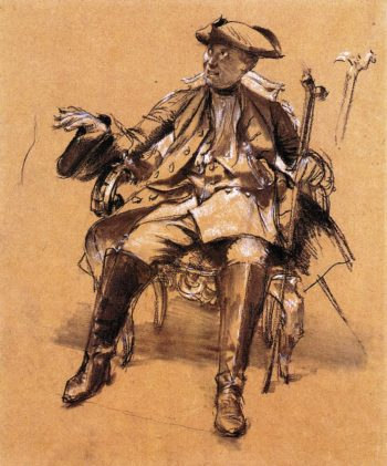 Study of Model for Frederick II in an Armchair | Adolph von Menzel | oil painting