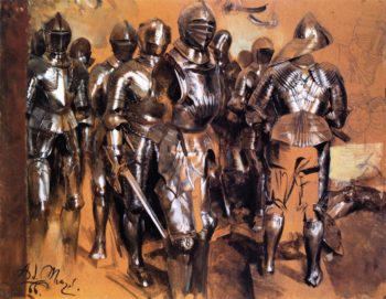 Suits of Armor Standing | Adolph von Menzel | oil painting