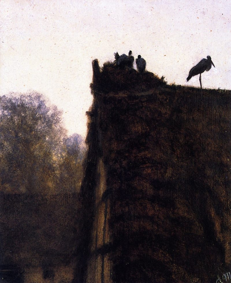 Thatched Roof with Storks' Nest | Adolph von Menzel | oil painting