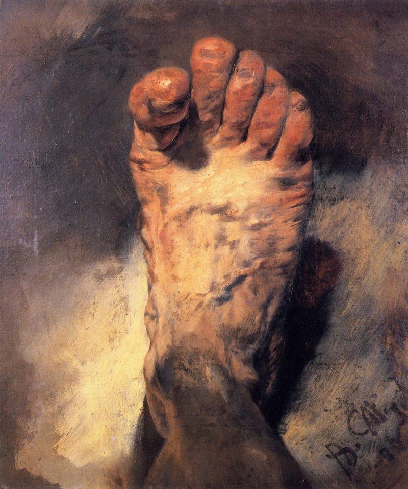 The Artist's Foot   Adolph von Menzel   oil painting