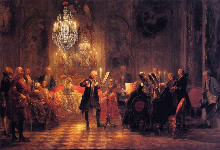 The Flute Concert of Frederick the Great at Sanssouci | Adolph von Menzel | oil painting