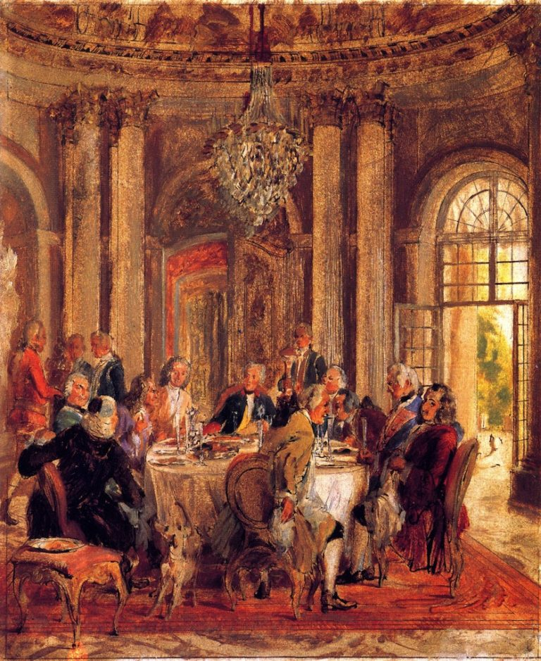 The Round Table of Frederick II at Sanssouci   Adolph von Menzel   oil painting