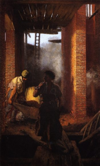 Two Builders at Work | Adolph von Menzel | oil painting