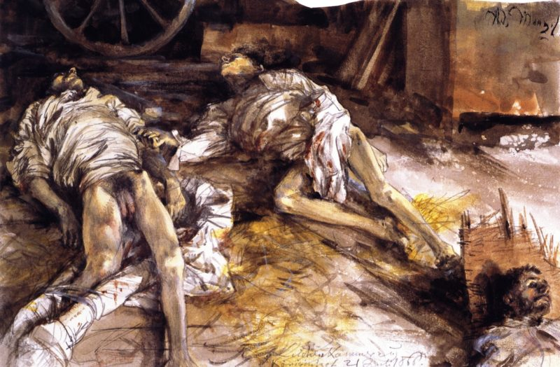 Two Dead Soldiers in a Barn | Adolph von Menzel | oil painting