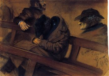 Two Voters and Study of One the Heads | Adolph von Menzel | oil painting