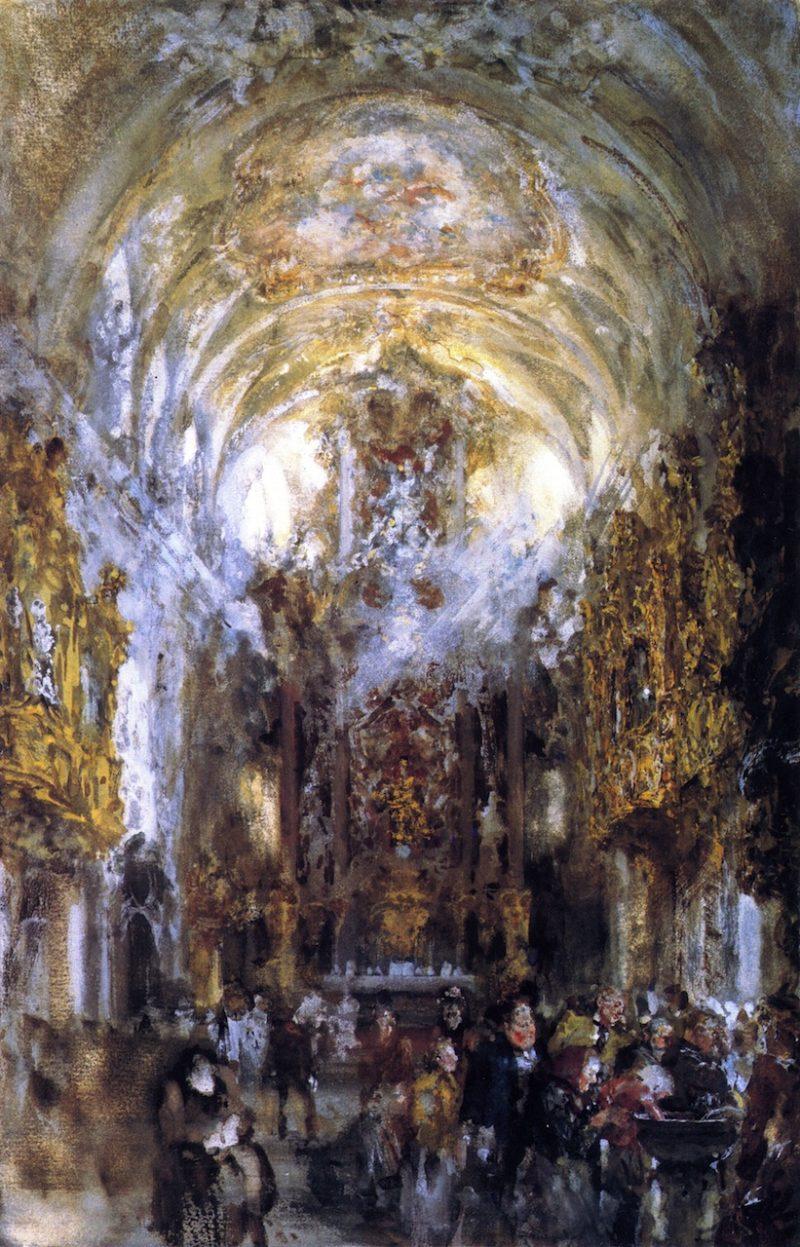View of the Collegiate Church Unser Lieben Frau zur Alten Kapelle in Regensburg   Adolph von Menzel   oil painting