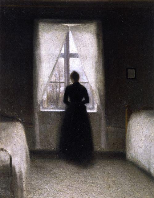 Bedroom | Vilhelm Hammershoi | oil painting