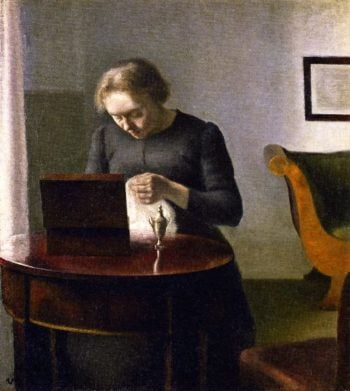 Interior with a Woman at a Sewing Table   Vilhelm Hammershoi   oil painting