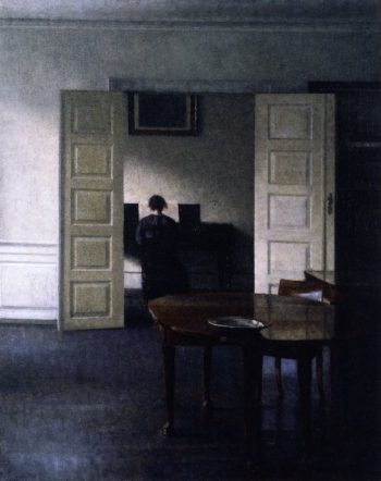 Interior with Ida Playing the Piano   Vilhelm Hammershoi   oil painting