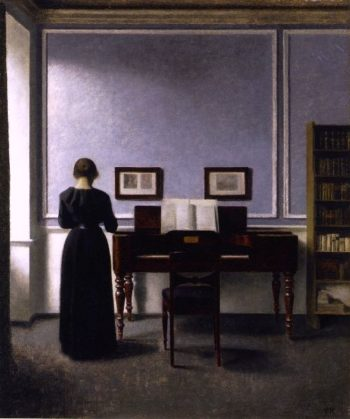 Interior with Piano and Woman in Black | Vilhelm Hammershoi | oil painting