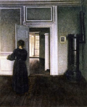 Interior with Stove   Vilhelm Hammershoi   oil painting