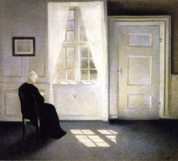 Woman Reading in the Sunlight | Vilhelm Hammershoi | oil painting