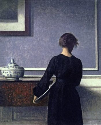 Young Woman seen from Behind | Vilhelm Hammershoi | oil painting